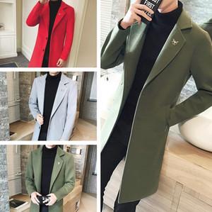 Mens Winter Woolen Coat jacket Men Leisure Long Sections Coats Mens Pure Color Casual Fashion Jackets Men Overcoat clothes clothing