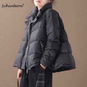 2020 Yeni Schinteon Çizgili Aşağı Ceket Gevşek Kore Stil A-line Kış Sıcak Coat Yaka moda Standı eskitmek