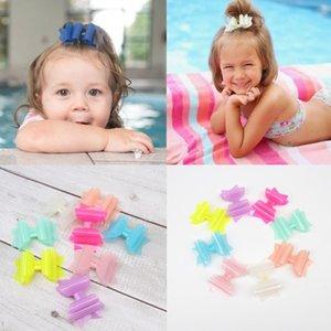 ncmama Summer PVC Jelly Hair Bows for Girls Hair Clips 3'' Cute Hairpins Kids Princess Pool Bows Barrettes Accessories