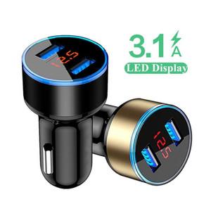 3.1A Dual USB Автомобильное зарядное устройство 2 порта ЖК-дисплей Индикатор сигареты Разъем адаптера прикуривателя Быстрое Автомобильное зарядное устройство питания для Iphone