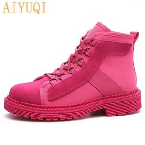 Aiyuqi Donna Real Leather Boots Martin 2020 Autunno New Sexy Stivaletti Donne Stivaletti Canvas Moto Motorcycle Ladies1