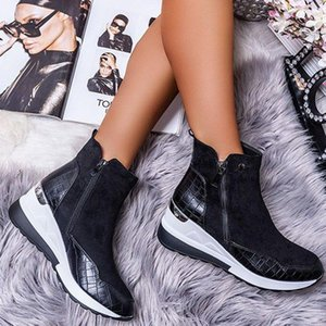 Autumn New 2020 Winter Flat Heel Zipper Casual Shoes Women Artificial Leather Block Heel All Season Sneakers Zapatos Para Mujer