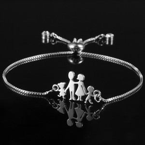 Silver Color Family Charm Bracelets Father Mother Girl Boy Rose Flowr Mom Pendant Bracelet Fashion Jewelry Mother's Day Gift