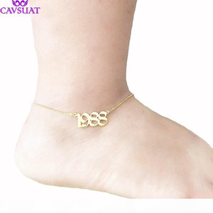 Custom Old English Number Anklet Bracelet Foot Jewelry Rose Gold Color Personalized Name Wedding Date Anklets For Women Men Gift