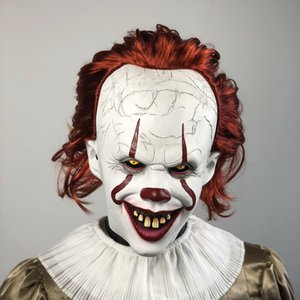 Mask Pennywise Movie Stephen Joker King It Chapter Two 2 Horror Cosplay Latex Helmet Clown Halloween Party Costume Masks