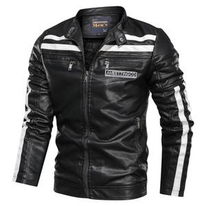 Bomber gola Moda Casual Sólidos Leather Jacket além de veludo Joker homens inverno NEGIZBER Homens C1103