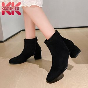 KemeKiss Größe 33-43 Frauen-Absatzstiefel echtes Leder Zipper Stiefeletten Frau Fashion Simple Winter Schuhe Schuhe