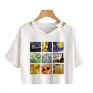 David Van Gogh Art Letters Print Harajuku Casual Funny T Shirt For Lady Top Tee Hipster Tumblr Shirt Women Fashion Tee Crop