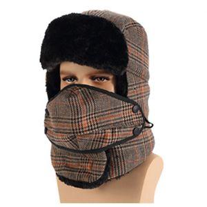 Trapper Cap With Mask Men Women Winter Warm Fur Snow Hat Plaid Earflap Snow Ski Cycling Cap Bomber Hats 30pcs 85 O2