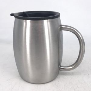 14 Unzen Edelstahl-Kaffeebierkrüge mit Deckel 14oz Doppelschalig isolierte Kaffee-Tee-Becher Bier Tumbler mit Griff SEEverschiffen RRA3739