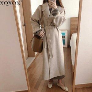 Women's Trench Coats 2021 Winter Oversize Long Coat Women Cashmere Korean Lady Windbreaker Outwear Streetwear1