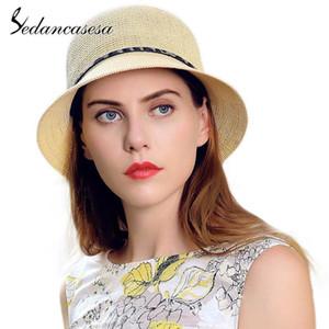 Sedancasesa neue Sommer-Strohhüte für Frauen handgemachtes Strand-Sommer-Sonne Caps Crochet Straw Cap Tragbare Sonnenhut für Mädchen Sonnenhut