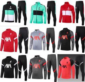 Liverpool blouse zip 2021 Zip Jacket Costume complet Soccer Training 20 21 Football PRE-MATCH Sports d'hiver kit Pantalon usure
