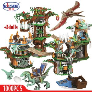 ERBO 1000 adet Jurassic Dünya Dinozor Ağacı Ev Yapı Taşları Jurassic Dünya Parkı Rakamlar Tuğla Setleri Oyuncaklar Çocuklar Için Hediyeler Q1221