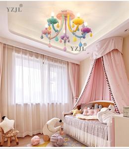 color crystal ceiling lamp bedroom crystal chandelier lamp children's Faka american girl princess soft home chandelier lighting.
