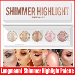 Langmanni Face Makeup Shimmer Glitter Highlighter Palette 5 Colors Glow Up Pressed Powder Cosmetic Contour Face Highlighters Powder