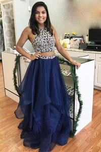 Charming Long Two Pieces Prom Dresses Set Navy Blue Sweet Party Dress Homecoming Gowns Customize Evening Dresses Custom Made