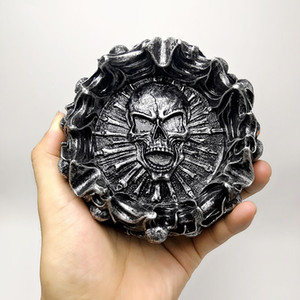 3D silicone mold creative flame skull ashtray Halloween decoration tool to produce gypsum resin concrete silicone mold T200703