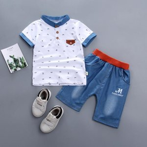 baby boys summer clothes newborn children clothing sets for boy short sleeve shirts + jeans cool denim shorts suit