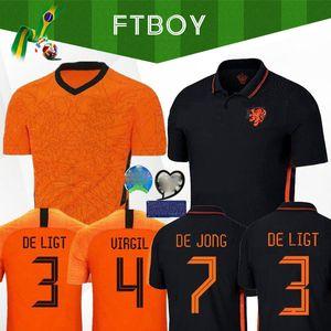 DE JONG Wijnaldum Holanda 2020 Holanda Futebol kits de futebol camisa de jersey VIRGIL Strootman MEMPHIS PROMES conjuntos Men + crianças