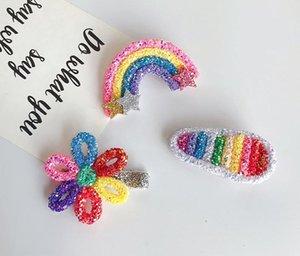Boutique ins 15pcs Fashion Cute Glitter Star Rainbow Hairpins Solid Floral Hair Clips Princess Headwear Hair Accessories