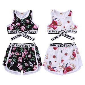 INS flower girls tracksuit baby tracksuit letter girls sweat suit casual kids suits Vest+Shorts 2pcs set Sport Suit baby girl clothes B3742