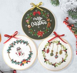 Weihnachten DIY Stickerei Starter Kit mit Weihnachten Themed Muster-Stickerei-Band-Baumwollleinenstoff Gewinde Needlework Sewing Craft