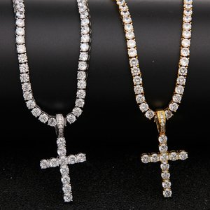 Iced Out Zircon Cross Pendant With 4mm Tennis Chain Necklace Set Men's Hip hop Jewelry Gold Silver CZ Pendant Necklace Set