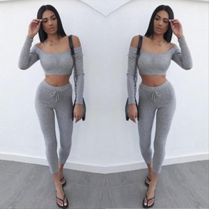 Women Suit Outfit Two Piece Set Off Shoulder Long Sleeve Crop Top Legging Sweatpants Set Crop Solid set