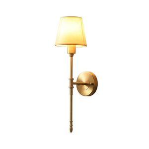 Permando Singolo classico Rustico Industrial Wall Sconce Lighting Apparecchio con lampada tessile bianca svasata MJ1016