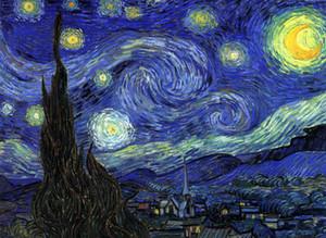 Vincent Van Gogh - The Starry Night - Pintura de paisagem abstrata Home Decor óleo sobre tela Wall Art Canvas Pictures 201019
