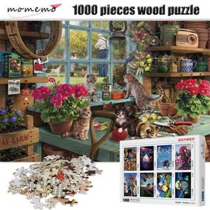 MoMemo Любопытный кошка головоломки 1000 штук деревянные развлечения головоломки для взрослых детские образовательные игрушки Puzzle игра Y200421