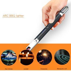 Mini Kerze-Feuerzeug USB aufladbare Elektrolichtbogenfeuerzeug mit LED-Batterie-Anzeige Sicherheits-Schalter für Home Küche Kochen Camping-Feuerwerk