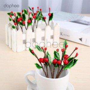 dophee 10pcs Yapay yapraklar + Berry Şubeler 10cm Noel Düğün Doğum Günü Partisi Bahçe Dekorasyon 2 Meyveler + 3 Yapraklar 50Dc #
