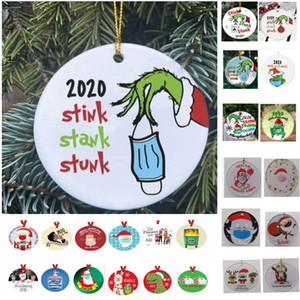 54 Styles Grinch Hand Christmas Ornament Personalize Grinch Ornament Christmas Quarantine Ornament Face Mask Xmas Pendant HH9-3416