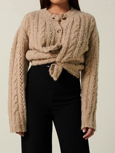 2020 Early Autumn Women knitted Cardigan Lady Long Sleeve Hollow Out Sweater Female Single-breasted Outwear Soft Coat top