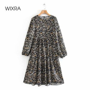 Wixra Womens Dresses O Neck Long Sleeve Floral Print Ladies Loose Straight Clothing Spring Summer