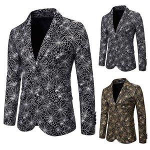 Spider Gilt Herren Web Slim Fashion Print Anzug Kleid Show Mantel X137