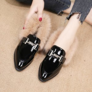 2021 New Style Fishio Lazy Shoes Furry Women shoe Wear Autumn Winter Muller Shoes Flat Rabbit Fur Pointed casual shoes Keep warm Loafers