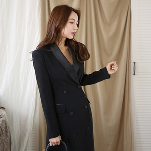 Hot Sale New Autumn Winter Office Lady Runway Designer Women Long Trench Coat Notched Collar Wrap Black Maxi Coat Outwear