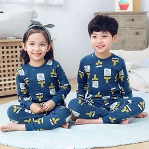Ropa interior Niños Puro Otoño Set Baby Boys and Girls 'Algodón de algodón Cuello redondo Paño Pijamas