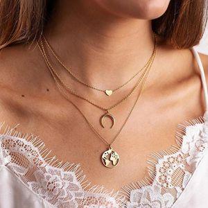 البوهيمي متعدد قلادة قلادة 2020 طبقة للنساء القمر القلب خريطة متعدد المعلقات قلادة المجوهرات بالجملة