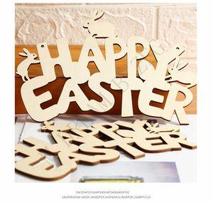 Пасхальные деревянные украшения кролика счастливая пасхальная дверь висит кулон орнаменты DIY древесины кролика ремесло пасхальный декор для дома PPD4214