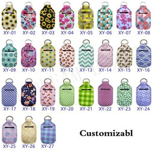 Bag Customize Neoprene Keychain Sanitizer 30ML Printed Hand Soap Bottle Key Ring Chapstick Holder With BaseballRYFD
