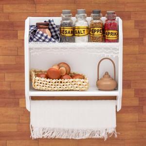 01:12 Minyatür Odoria Mutfak Ahşap Beyaz Duvar Kavanozları ve Gıda Dollhouse Mobilya Aksesuarları 1019 ile Kabine Raf Depolama Monteli