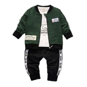 Boys Girls Ropa Set Fall Infantil Bebé Manga larga camiseta + Coat + Pantalones 3 unids Trajes para niños Childern Casual Traje A0078 201123