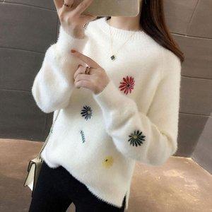 Pullover Frauen O Neck Pullover Jumper Imitierte Nerzwolle Neue Samt Verdickung Krempe Weibliche Schwächter Frauen Kleidung Vestidos LXJ9004