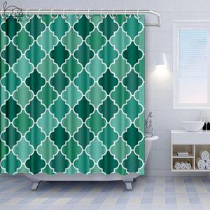 Nyaa geometrica Quatrefoil Shower Curtain Teal Grey Marocco Turchese Aqua Vintage White Marocco Lattice poliestere impermeabile