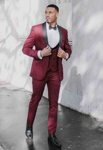 Slim Fits Wine Red Men Work Business Suits Three Pieces Man Prom Party Dresses Groom Tuxedos (Jacket+Pants+Vest+Tie) W1140