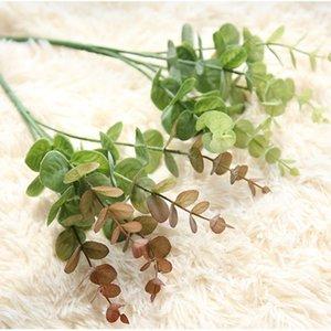 Декоративные цветы венки 1branch Artifical Trash листья пластиковые зеленые растения поддельных эвкалиптовых листьев для дома DIY вазы украшения свадьбы